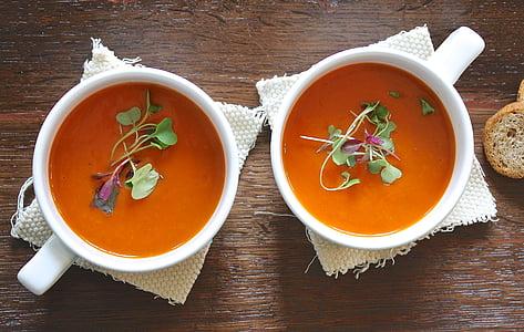汤, 番茄, 健康, 自制, 素食主义者, 午餐, 新鲜