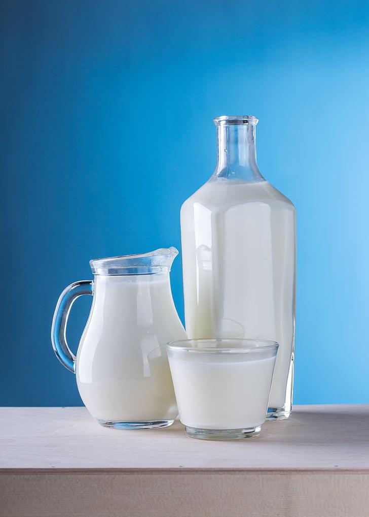 piens, piena produkti, krūka, pudele, Rustic, noderīgs, balta