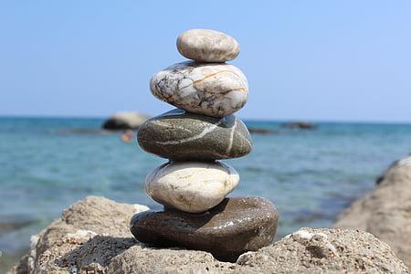 platja, Mar, l'estiu, sol, còdols, equilibri, còdols