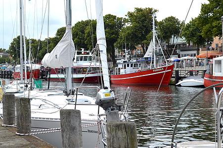 Warnemünde, gamla makt, Östersjön, fartyg, fiskebåt, vatten, hamn