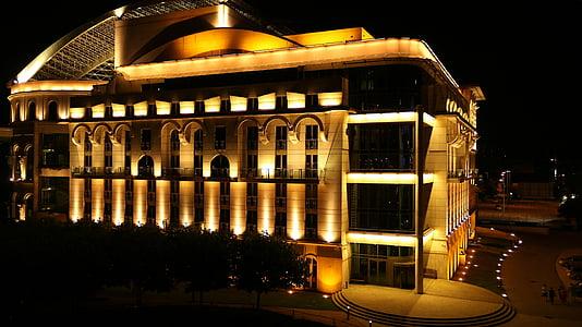 színhaz, gaismas, Budapešta, valsts teātris, naktī, nakts bilde, ēkas