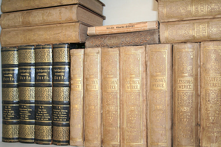 old books, bookcase, spine