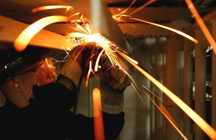 worker, labor, industrial, cutting, steel, trade, sparks