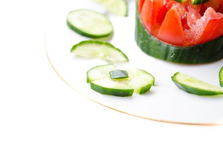 kurgid, salat, köögiviljad, toidu, terve, taimne, kurk