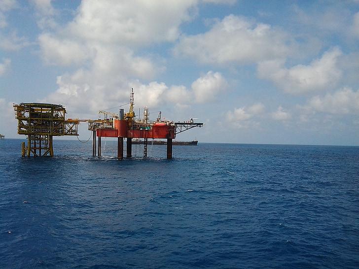 appareil de forage, site, gaz, professionnel, Indonésie, ciel bleu