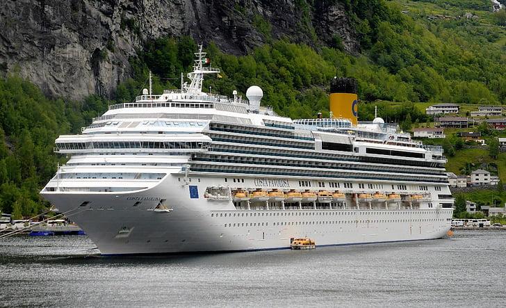 kryssning båt, kryssning semester, Norge, fjorden, vatten, kryssningsfartyg, Holiday