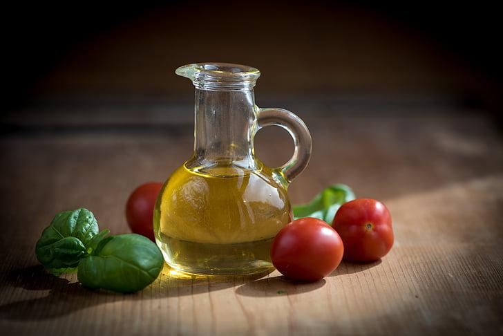 huile, bouteilles, alimentaire, manger, bouteilles en verre, nature morte, méditerranéenne