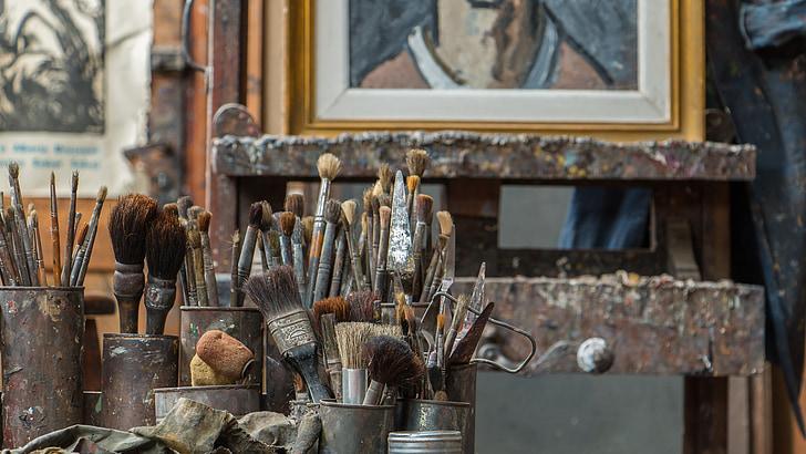 photos, art, peintures, pinceaux