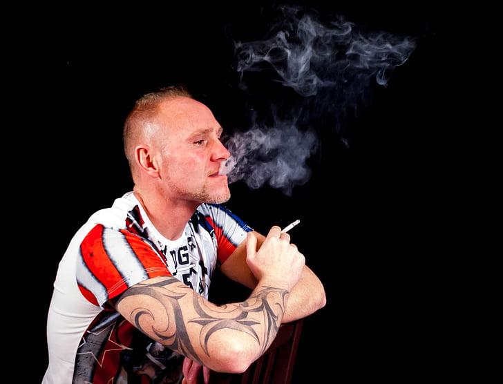 home, assegut, tatuatge, Retrat, només, persona, fum