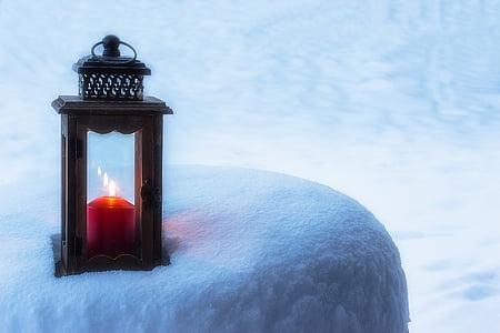 lantern, candle, light, mood, candlelight, romance, snow