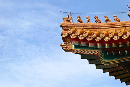 sostre, Xina, drac, ciutat prohibida, arquitectura, Pequín, Palau