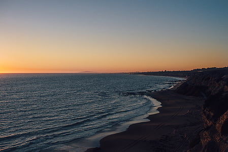 beach, horizon, lake, ocean, shore, sunrise, sunset