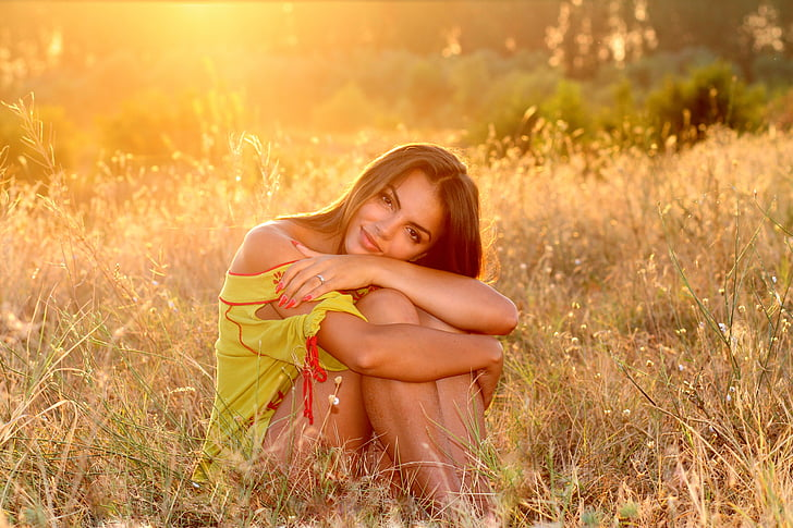 Момиче, трева, залез, светлина, природата, вечерта, BFE