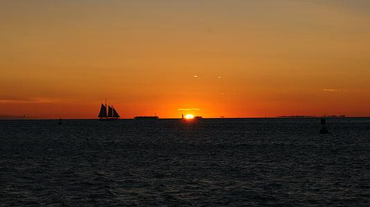 ηλιοβασίλεμα, μεταλαμπή, ουρανός, τοπίο, φύση, στη θάλασσα, Ρομαντικό