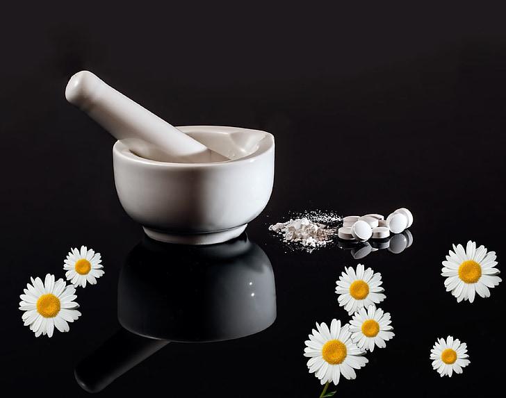 Homeopátia, orvosi, Kamilla, Természetgyógyászati medicine, növény, gyógyító, virágesszenciája