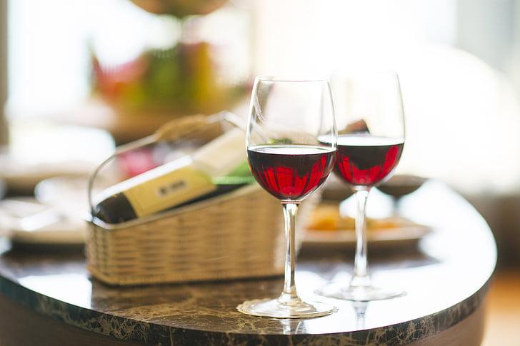 vi, vermell, sopar, Hotel, vacances, celebració, feliç