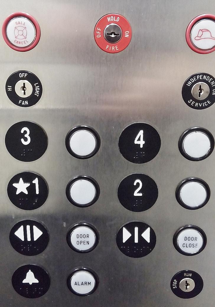 Lift gombok, Lift, gombok, panel, nyomja meg a, push