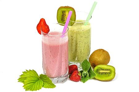 còctels de fruita, batut, esmorzar, llet, barreja, Nutrició, refrescant