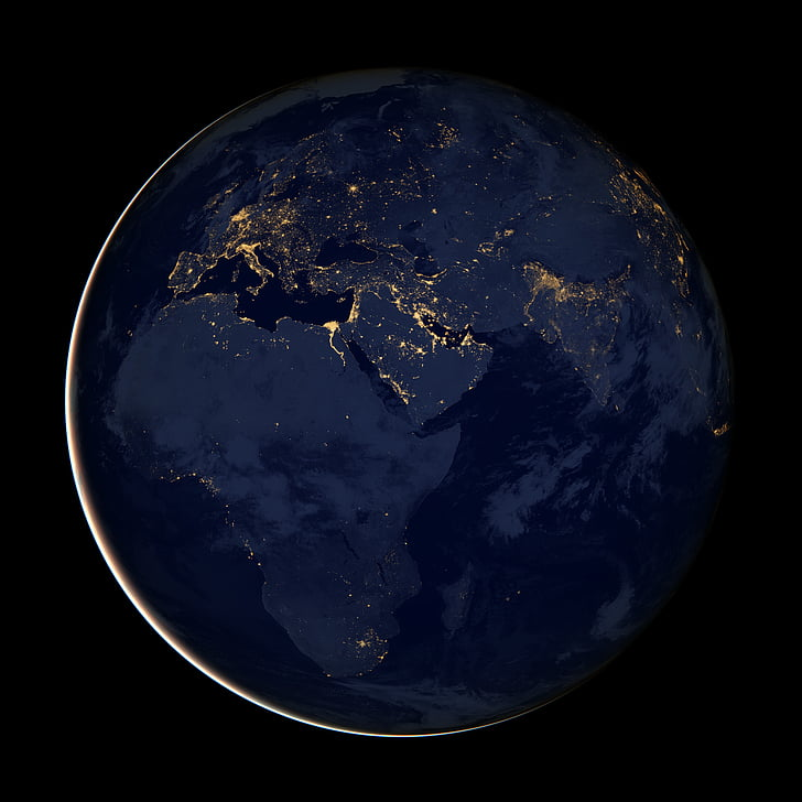 earth, africa, globe, cities, lights, space, night