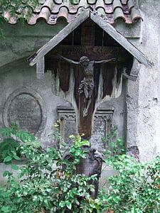 fából készült keresztet, feszület, Füssen, Allgäu, régi temető, építészet