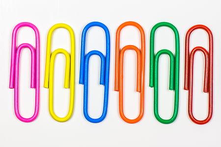 clip, clip de, Oficina, accessoris d'oficina, color, colors, fons