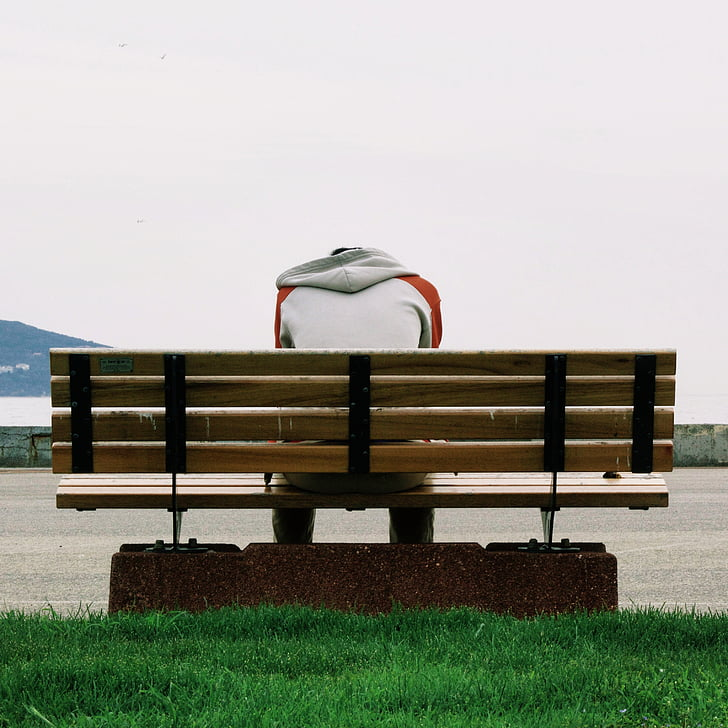 alone, bench, grass, guy, lonely, river, sadness