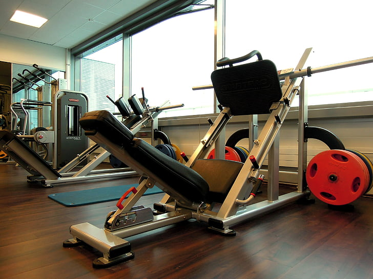 sports, in the gym, weights, the device, exercise in