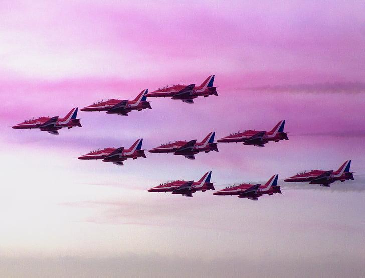 Sarkanās bultiņas, lidmašīnas, reaktīvās lidmašīnas, Klektonas, gaisa šovs, sarkana, Jet