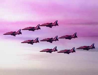 piros nyilak, repülőgépek, fúvókák, Clacton-on-Sea, légi show, piros, Jet