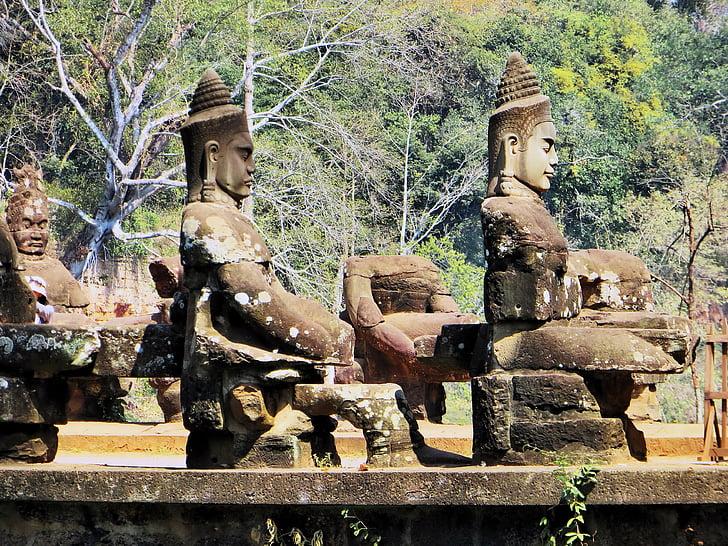 Камбоджа, Анкор, охрана, Байон, храма, статуи, археология