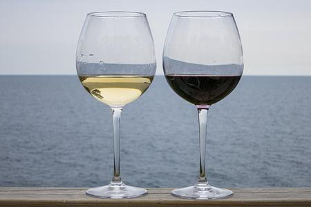 vi, vi negre, l'alcohol, Copa de vi, vidre, vermell, vi blanc