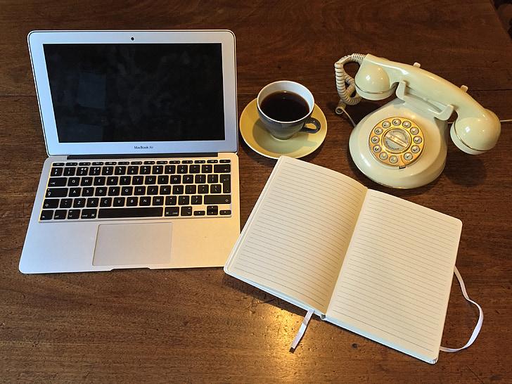 laptop, starý telefón, telefón, Vintage, notebook, kancelária, podnikanie