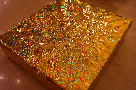 wrapping paper, golden, sparkling, packed, gift