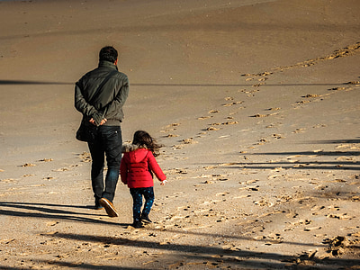 пляж, Зима, отец, дочь, тени, песок, холодная
