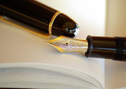 bút, bút, mực in, vàng, bằng văn bản, kinh doanh, doanh nghiệp kinh doanh