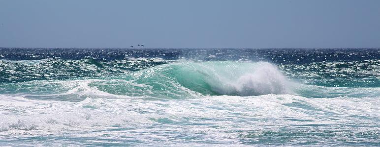 havet, blå, Ocean, våg, Surf, Sky, naturen