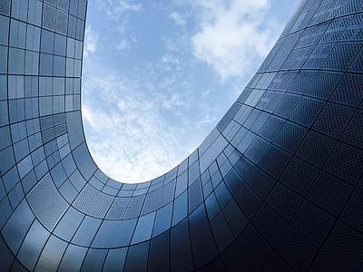faible, angle, photographie, verre, bâtiment, Sky, bâtiment d'architecture