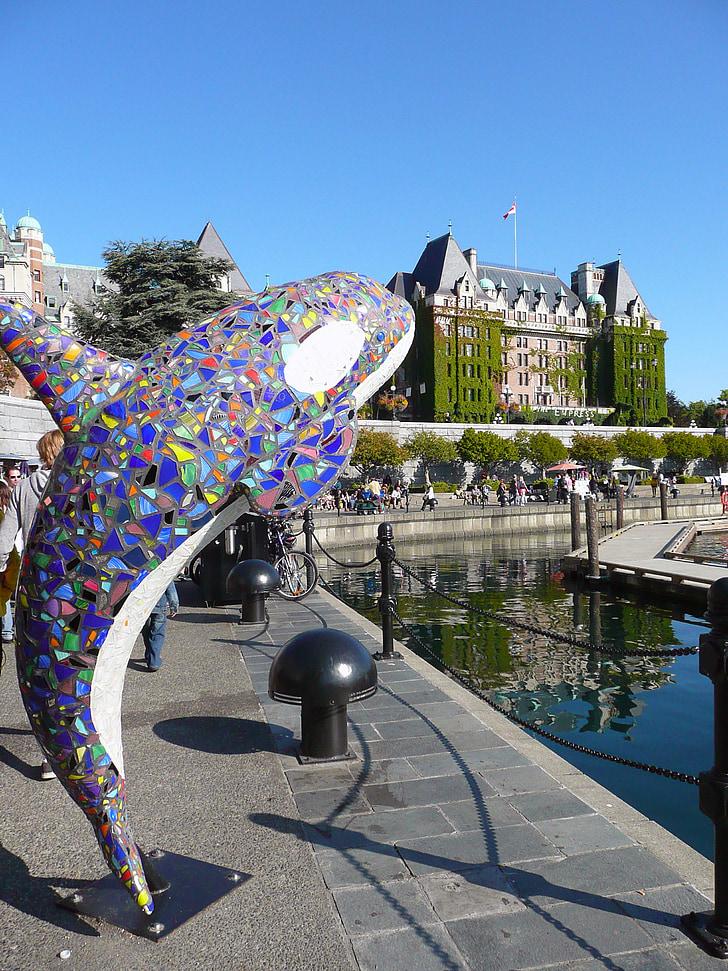 konst, Whale, Victoria, British columbia, målning, Kanada, Empress hotel