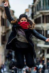 people, girl, woman, jump, mask, smile, happy