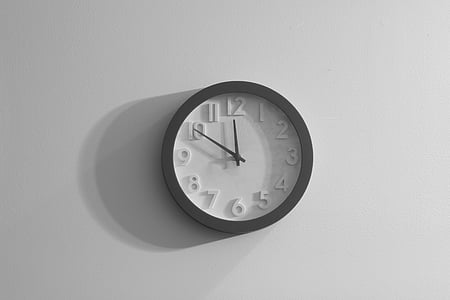 black-and-white, clock, gray, wall