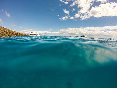 båtar, moln, naturen, Ocean, havet, Sky, vatten