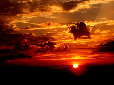nuvole, Nuvola, cielo, sole, tramonto, Sole, nube, crepuscolo