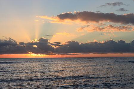 coucher de soleil, Kauai, Hawaii, plage, océan, du Pacifique, nature