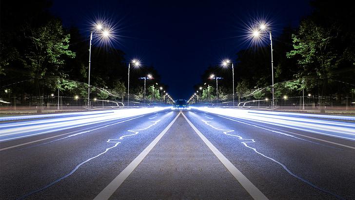 autoestrada, expossure longo, à noite, luzes, espelho