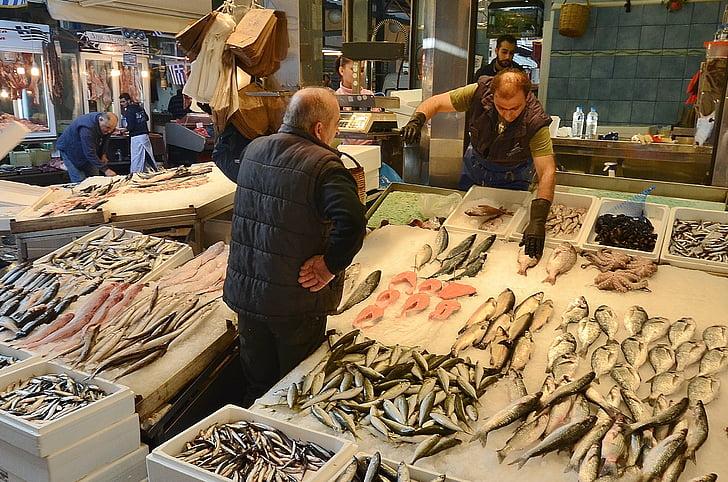 Рыба, рынок, люди, морепродукты, рынок, рыбный рынок, питание