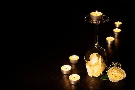 stearinlys, fyrfadslys, voks, fyrfadslys, vokslys, lys, Candlelight