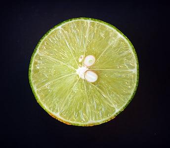 石灰, 柠檬, 切片, 绿色, 整个, 白色, 叶