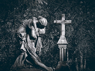 grav, grav, kirkegård, gravsten, Rock udskæring, dystre, statue