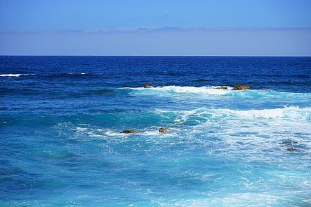 more, vode, oceana, širok, val, plava, blautöne
