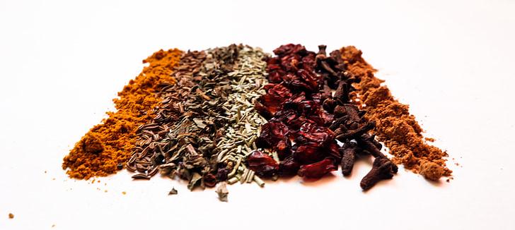 kryddor, Berberis, basilika, curry, kryddor, kryddnejlika, muskot